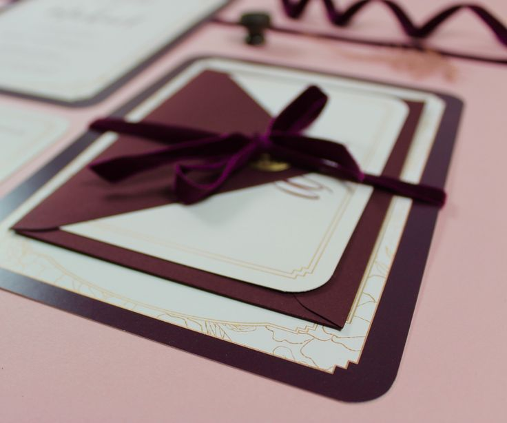 Bespoke bordeaux & blush wedding invitations with a subtle nod to the 1920's.  Velvet ribbon.