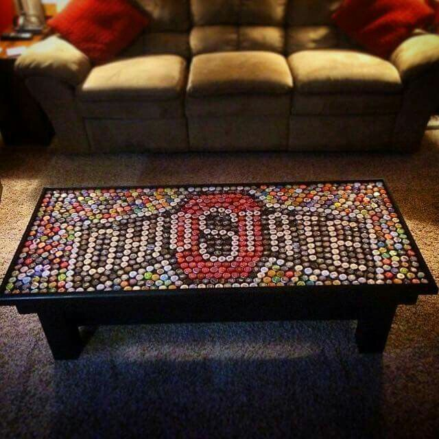 ohio state table made from bottlecaps.... I LOVE THIS!