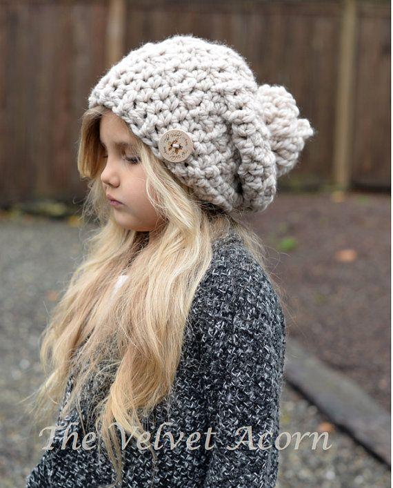 Crochet PATTERN-The Bain Slouchy tamaños niño por Thevelvetacorn                                                                                                                                                      Más