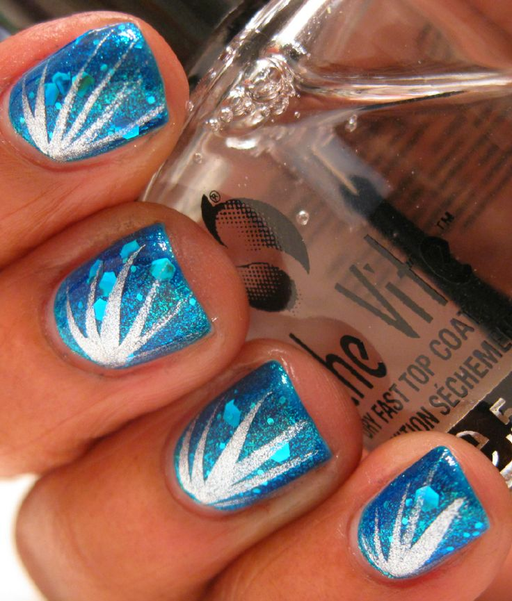 Karinea0a: Firework nails: Nails Art, Nails Design, Blue Eye Girls, Glitter Nails, Sparkly Nails, Art Nails, Blue Nails, Nails Tutorials, Fireworks Nails