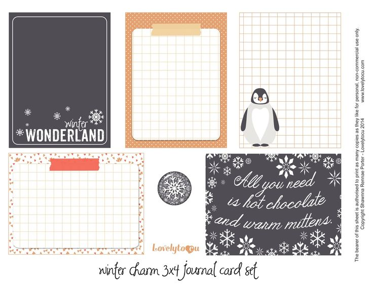 Free Winter Charm Journal Cards Printable from Lovelytocu