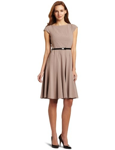 Anne Klein Women's Diagonal Seam Bi-Stretch Dress With Full Skirt