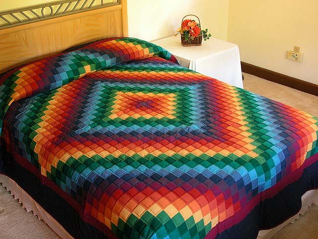 Trip Around the World Quilt -- terrific adeptly made Amish Quilts from Lancaster (hs507)