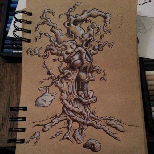 One #twisted tree #sketch #doodle #drawing #silly #billy #illustration #pen #pencil #newschool #brown #paper #goofy #graffiti #goon #flakychump #cartoon #character #cartoonsonncid | by flakychump