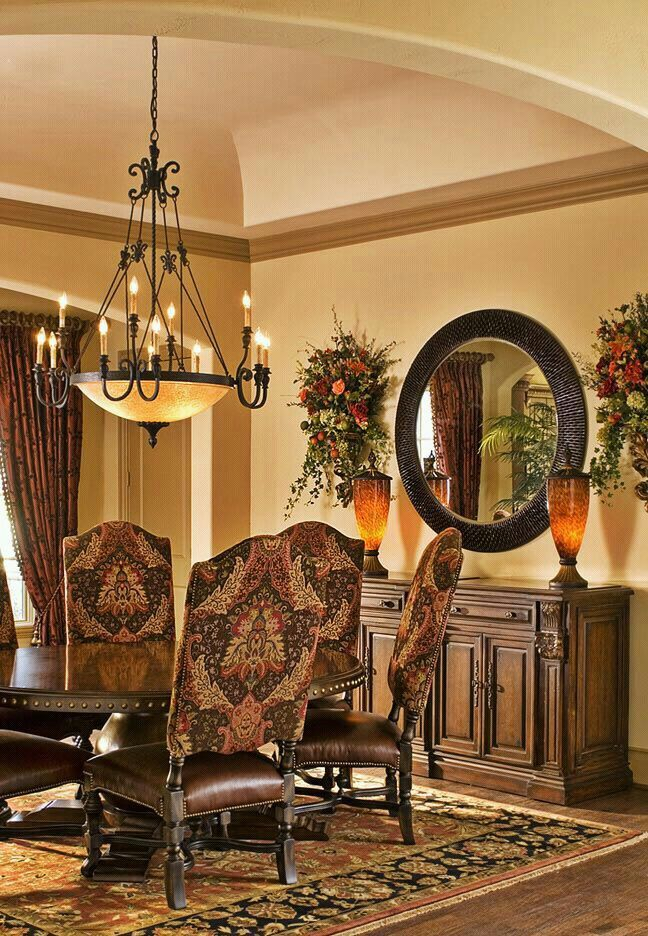 Tuscan Style Dining Room ❤ Everything Except The Chairs; ❤ Buffet, Mirror  And Vases