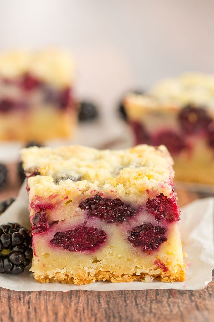 A straight-on look at blackberry pie bars!