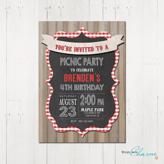 Picnic Birthday Party Invitation Picnic Party by StyleswithCharm
