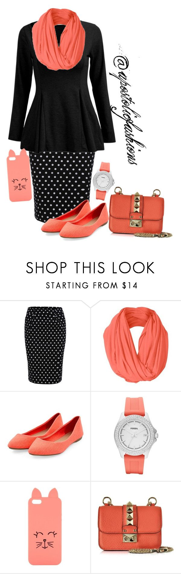 """Apostolic Fashions #1274"" by apostolicfashions on Polyvore featuring FOSSIL, H! by Henry Holland and Valentino"