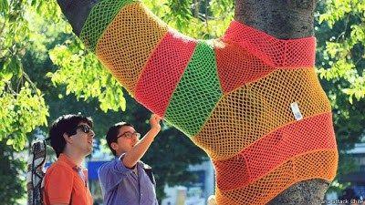 tejido en un arbol