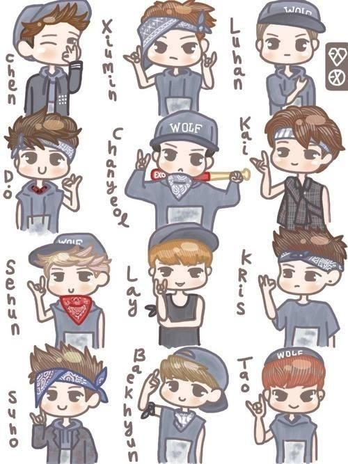 Image result for exo fanart cute with names
