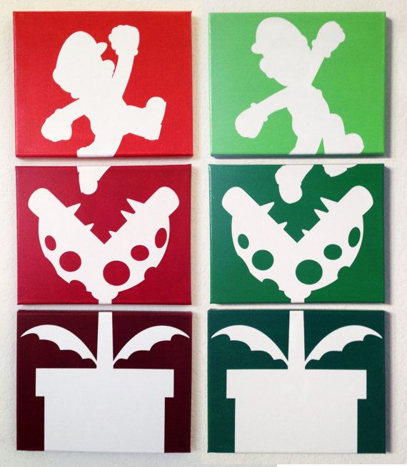 Mario Bros Ombre Canvas Art by adapperduck on Etsy