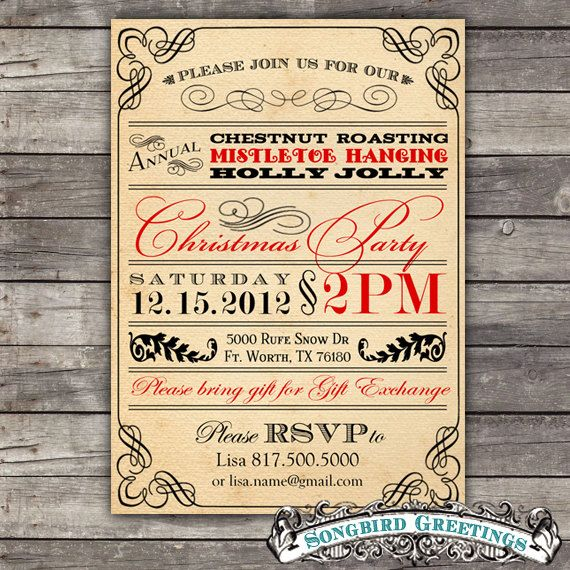DIY vintage Christmas party invitation--customizable. $20.00, via Etsy.