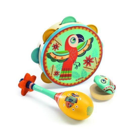 Animambo set - tamburína, maracas, kastaněty