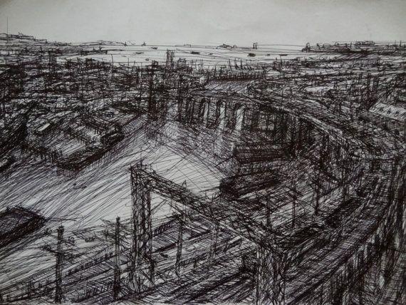 Items similar to original artwork landscape sketch industrial waterfront on etsy