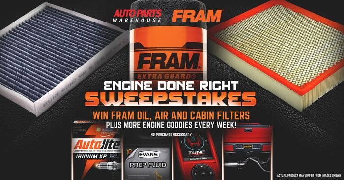 Get a chance to win FRAM Oil, Air, and Cabin Filters plus more engine goodies every week! http://woobox.com/8in5nb/hislxe