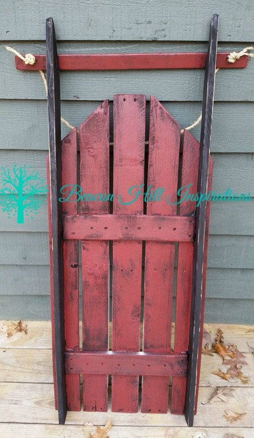 Decorative hand made and hand stenciled pallet wood Sled ...