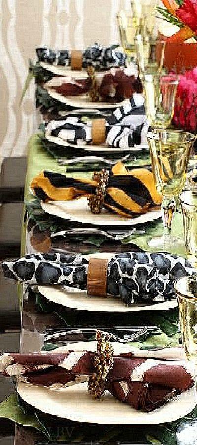 Purim Table Setting, safari theme table setting | LBV A14 ♥✤