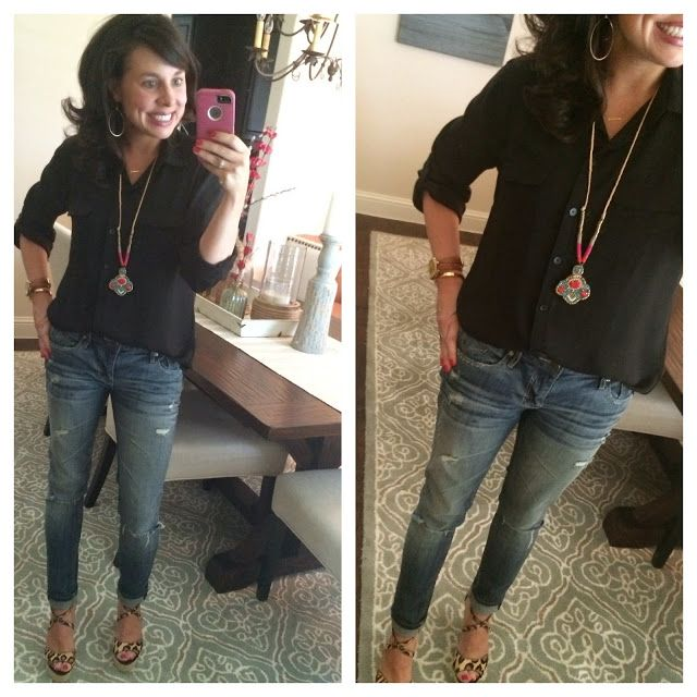 Black utility blouse, distressed jeans, a colorful necklace, AND THE BEST LEOPARD WEDGES ON THE PLANET! And the wedges are 33% OFF!!!!