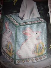 ''MISS BUNNY TISSUE BOX COVER'' ~*~PLASTIC  CANVAS PATTERN~*~