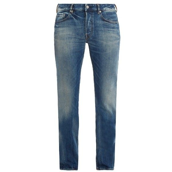 Stone Island Slim-fit washed jeans (750 BRL) ❤ liked on Polyvore featuring men's fashion, men's clothing, men's jeans, denim, mens slim cut jeans, mens destroyed jeans, mens white ripped jeans, mens white distressed jeans and mens denim jeans