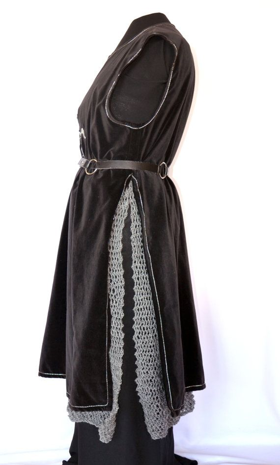 Mail Skirt, hand knit faux chain mail skirt armour for fantasy, SCA, LARP and sword and sorcery costumes and events, Aragorn costume
