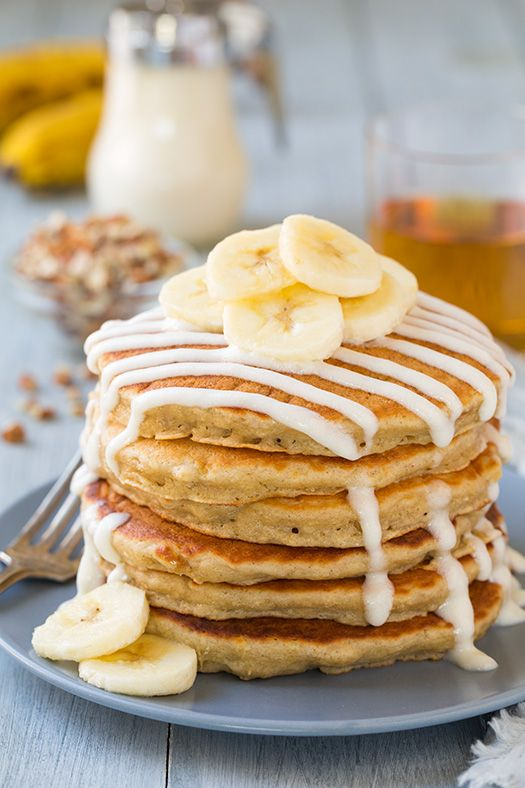 I am in love with these pancakes! They taste just like banana bread with the bonus of a decadent cream cheese glaze. Their texture is even much like banana