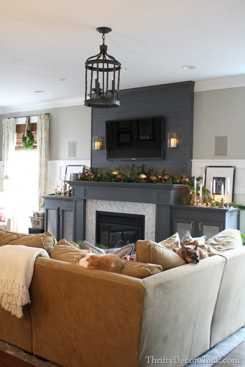 Shiplap cable coverup in a darker color, herringbone fireplace surround