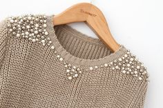 Pearl beading sweater   Pérolas no blusa de inverno
