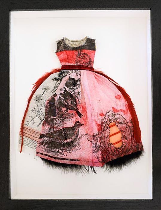 "'Figure 2' from the ""Weaver of Dreams"" series by Tasmanian printmaker & artist Leonie Oakes. Etching, linocut & letter press hand printed on Japanese Kozo paper, Antique paper, stitching & thread, 44.5 x 34 cm. source: Handmark Gallery. via randomization"