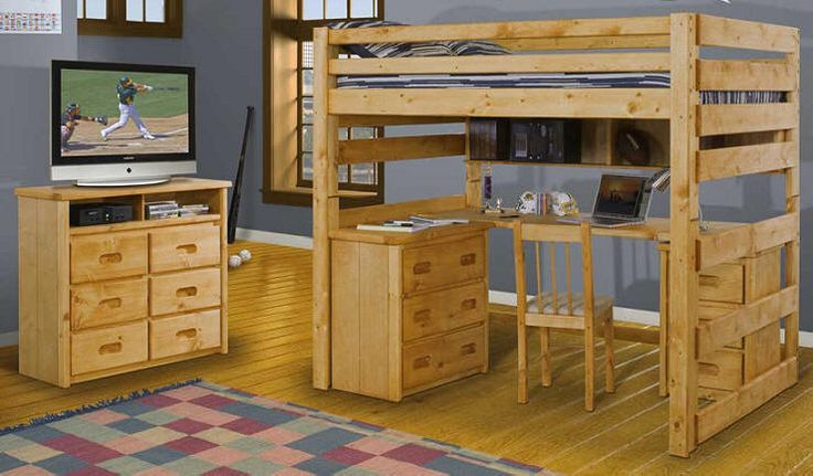 College Loft Bed with Desk | ... Glencoe College Loft Bed. Built of solid pine in a cinnamon finish