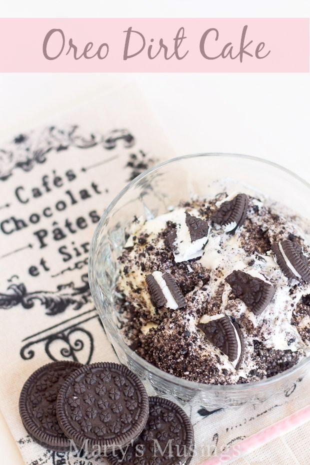 This popular Oreo DIrt Cake from Marty's Musings is a crowd pleaser, with crushed Oreos alternating with a layer of cream cheese, whipped topping and pudding. Kids love it with gummy worms on top!