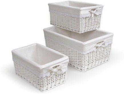 Badger Basket Three Set White Nursery Storage Baskets Baby