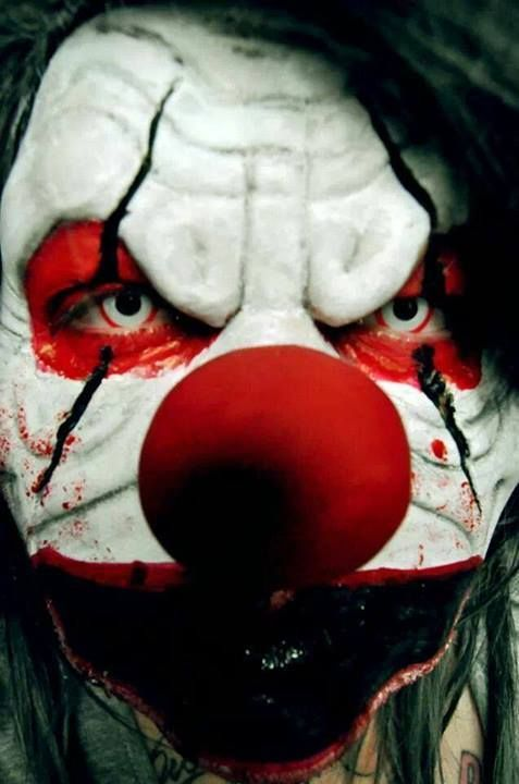 """Evil clown makeup idea / This effect looks wickedly awesome paired with Berzerker FX contact lenses.  The 2nd image in our """"Top 10 Scary contact lenses"""" Pin we compiled => https://www.pinterest.com/pin/350717889711924873/"""
