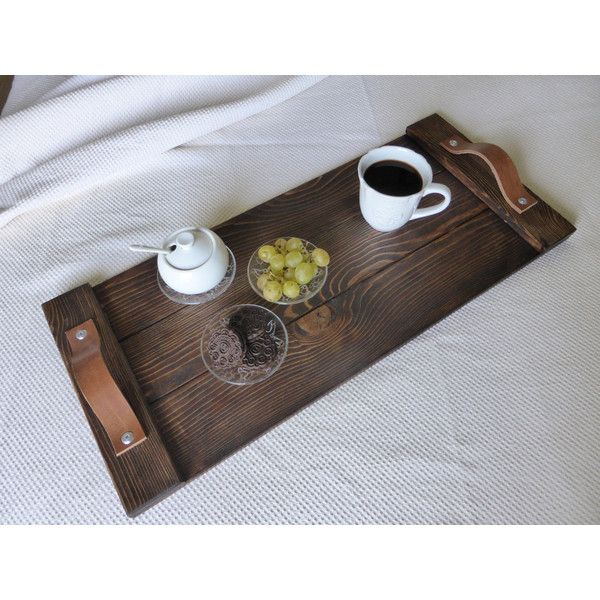 Rustic Wooden Tray Breakfast Tray Rustic Decor Leather Handles Ottoman... (215 BRL) ❤ liked on Polyvore featuring home, furniture, black, dining & serving, home & living, kitchen & dining, trays & platters, wood furniture, wooden breakfast tray and timber furniture