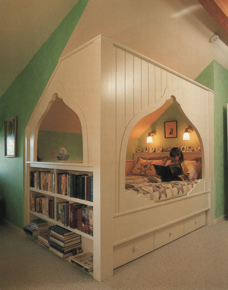 cozy bed + bookshelves + storage = awesomeness