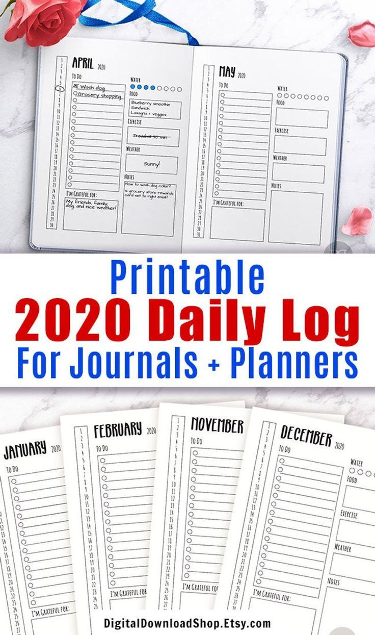 2021 Bullet Journal Daily Template Printable 2021 Daily Log Etsy Journal Bullet Journal Template Printable