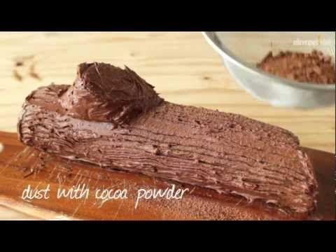 Watch how to decorate a festive Yule log for Christmas. This delicate sponge cake and chocolate buttercream is as gorgeous to look at as it is to eat!    http://allrecipes.co.uk/recipe/29920/christmas-yule-log.aspx