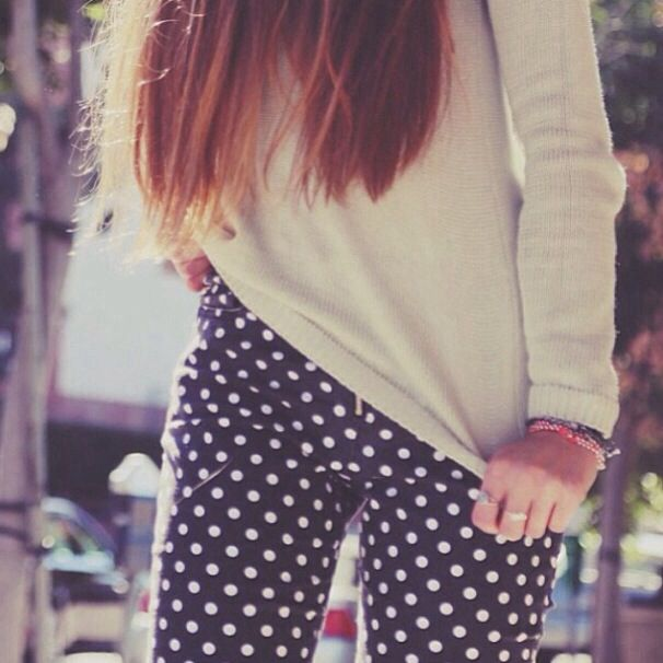 OOTD polka dot pants with knit sweater!!