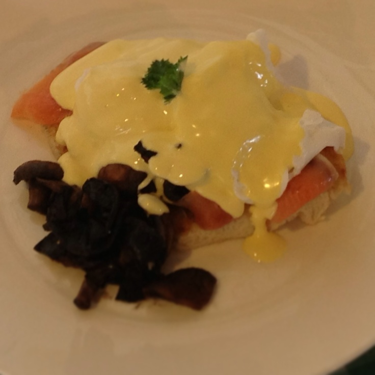 Eggs Benedict with Smoked Salmon and Mushrooms.  Our favourite brunch!