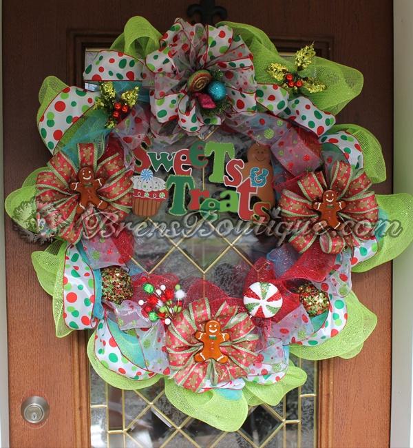 deco mesh, christmas, gingerbread, wreath