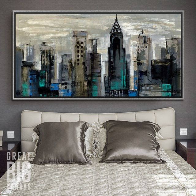"""Cityscape painting of New York City in abstract; with the bright light strokes in the sky highlighted with aqua and navy. """"New York Moment"""" by Silvia Vassileva. Wall art available for purchase via GreatBIGCanvas.com."""