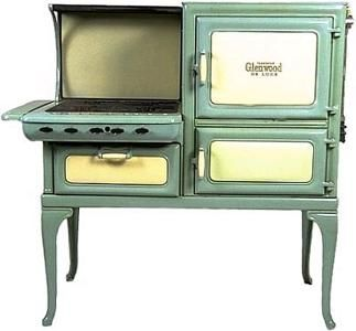 Insulated Glenwood Deluxe Retro Gas Antique Cook Stove in green & ivory. Sales price without tax: $4,850.00