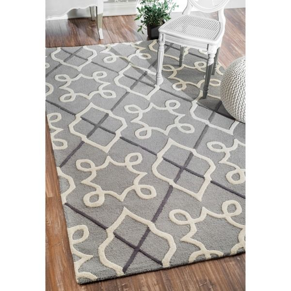 NuLOOM Handmade Modern Lattice Grey Wool Rug 76 X 96