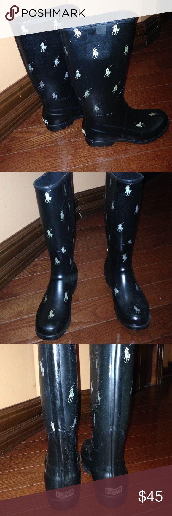 ✨SALE‼️Brand new. POLO RAINBOOTS!! BRAND NEW POLO RAIN BOOTS!! Perfect for the rainy weather. Worn only once. Size: 4 but cuts a little big I normally wear a 5.5 in boots and this boots fits me a little big. Willing to go lower! Polo by Ralph Lauren Shoes Winter & Rain Boots