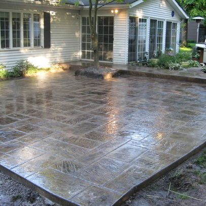 Stamped Concrete patio--idea if we tear down the porch. Would be perfect with a pergola overhead
