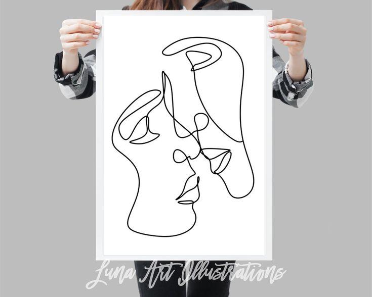 Couple kiss printable one line drawing print black and