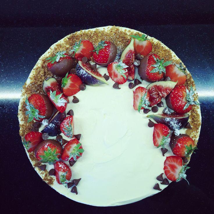 Strawberry & chocolate no-bake cheesecake.