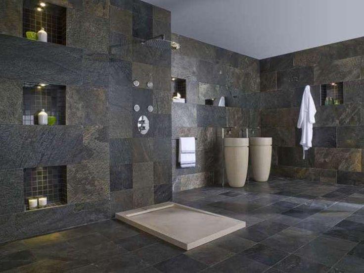 badezimmer dusche naturstein