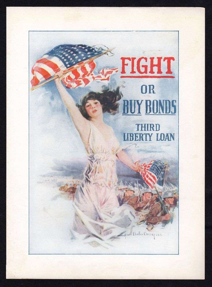 Fight or Buy Bonds 3rd Liberty Loan Vintage WWI Christy Patriotic Poster Print