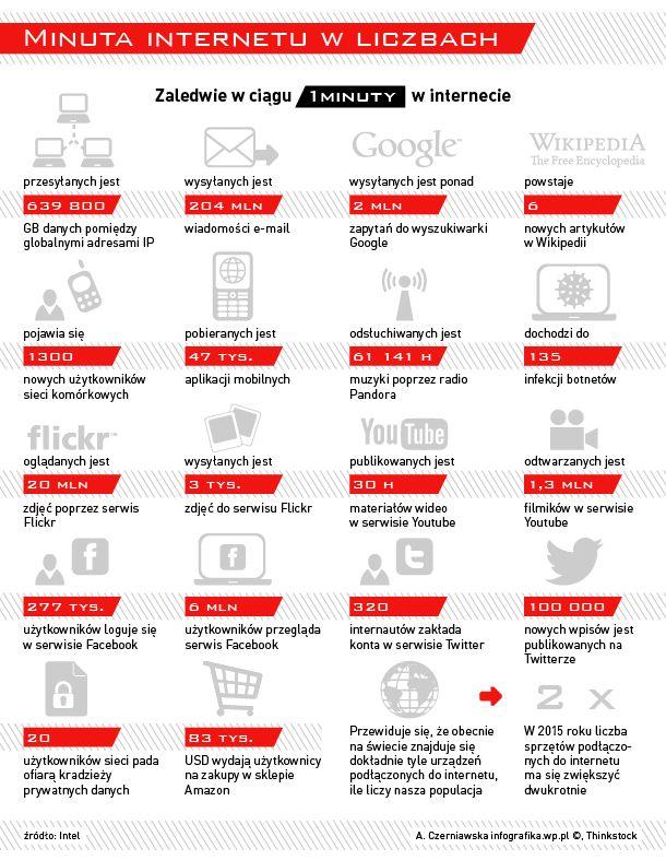 Minuta internetu w liczbach - Infografika - WP.Pl